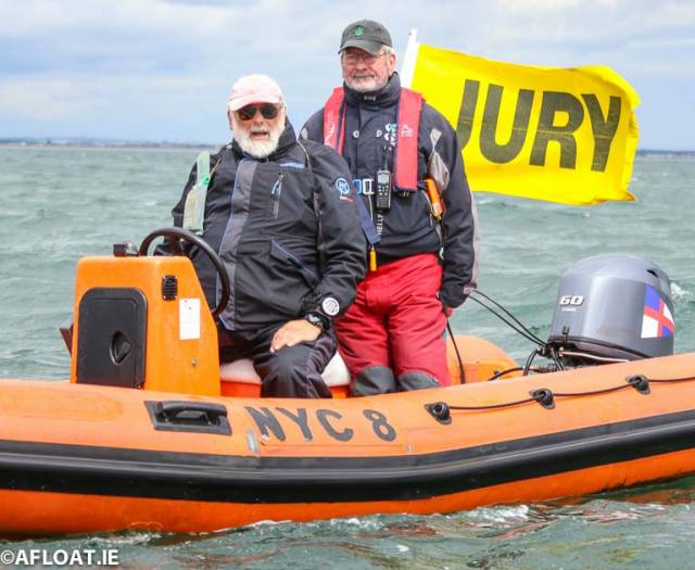 On the water jury - International Judge Gordon Davies (left) who is also chairman of the Protest Commitee and National Umpire Ailbe Millerick