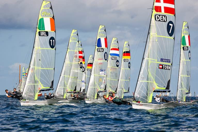 Ryan Seaton and Seafra Guilfoyle start a 49er race at the 2020 European Championships in Austria