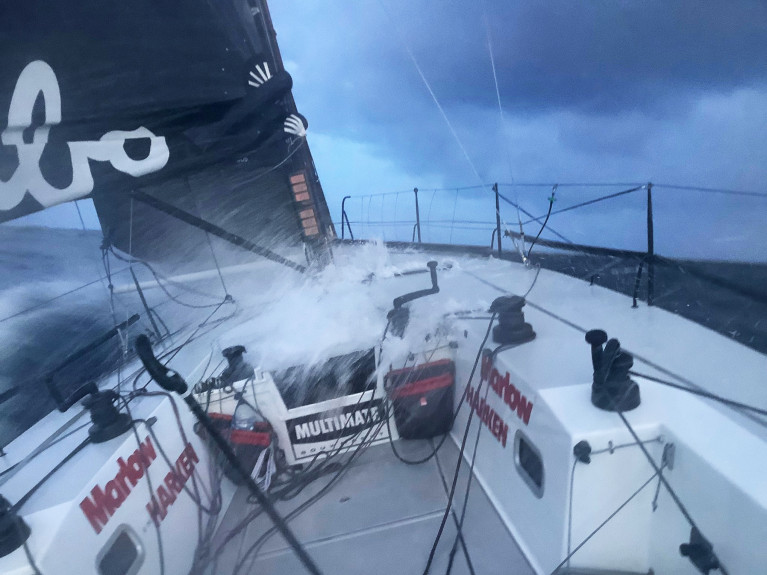 Hubo with deck awash in the Fastnet Race