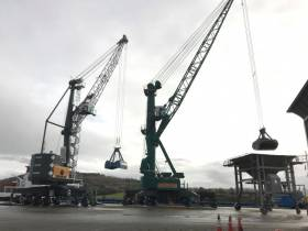 The new €3.5m crane (on left) boosts capacity at Belview which Afloat adds is the main terminal at the Port of Waterford. The heavy load-carrier vessel, Enough Talk delivered the new port infrastructure in what was a part-cargo, as Afloat also identified a second crane on board which was bound for another port services company located in Dublin Port.