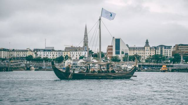 One of three Viking longships prepares to invade Dun Laoghaire Harbour yesterday