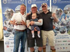 Jerry Dowling pictured with his winning Sportsboat team mates Stefan Hyde and Jimmy Dowling. Jerry will be appointed SB20 World Chairman next month