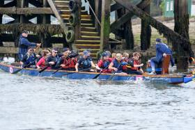 A Dragon boat competing in the Ocean to City Race. Scroll down for photo gallery