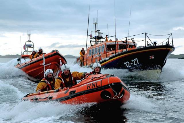 File image of Clifden RNLI's inshore and Mersey class lifeboats, which launched to the kayakers in distress yesterday evening