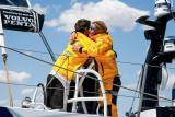 Hugs on deck for the Turn the Tide on Plastic crew in Melbourne after more than 15 days at sea