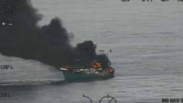 The MFV Suzanne II caught fire about 29 miles east of Arklow