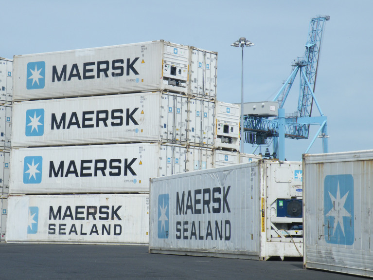 The world's biggest container shipping company Maersk warns global demand is to shrink this year. Above Afloat's photo of the operator's containers stacked in Dublin Port.