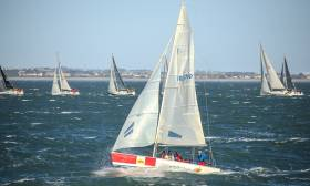 A Royal St. George YC 1720 tackles the breezy conditions in this morning's DBSC Turkey Shoot first race