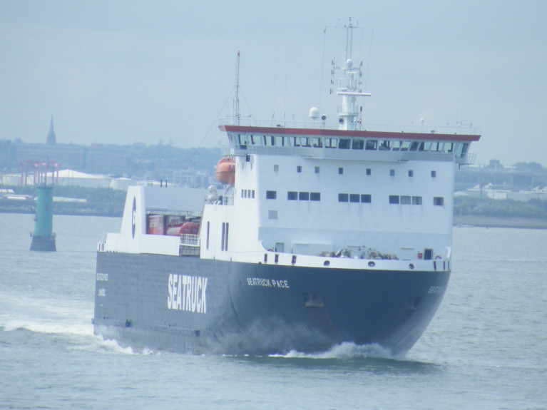 Seatruck Pace in this AFLOAT photo departing in the channel of Dublin Port bound for Liverpool, is among ro-ro freight ferries from today (afternoon) to provide more sailings on the route which also takes 'motorist' passengers.