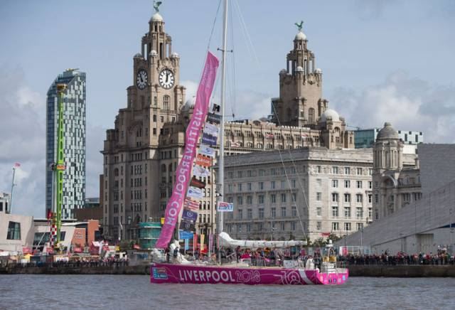 oat Liverpool 2018 departs the Race Start for the 2017-18 Clipper Round the World Yacht Race, Albert Dock, Liverpool.