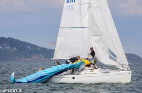 Rowan Fogerty's crew on Ventuno struggle with their chute during the opening race of the Beneteau 211 Nationals