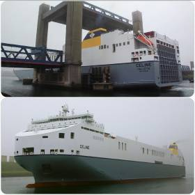 The Valletta registered giant ro-ro Celine is towed astern (top photo /see rope) through a Dutch road-lift bridge having sailed on a delivery voyage from South Korea.  The naval architecture of the newbuild is much more akin to a large car-carrier compared to CLnD /Cobelfret's range of other ro-ro currently in service, albeit several ships of recent years.