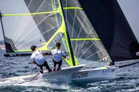 Belfast's Ryan Seaton and Royal Cork's Seafra Guilfoyle competing in the 49er skiff on day two of the Sailing World Cup in Hyeres
