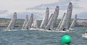 An RS Elite start line at the Carrickfergus Irish National Championships