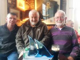 Guy Perrem Trophy winners at Monkstown Greensleeves Crew Skipper Jim Doyle, Denis Long and John Creagh