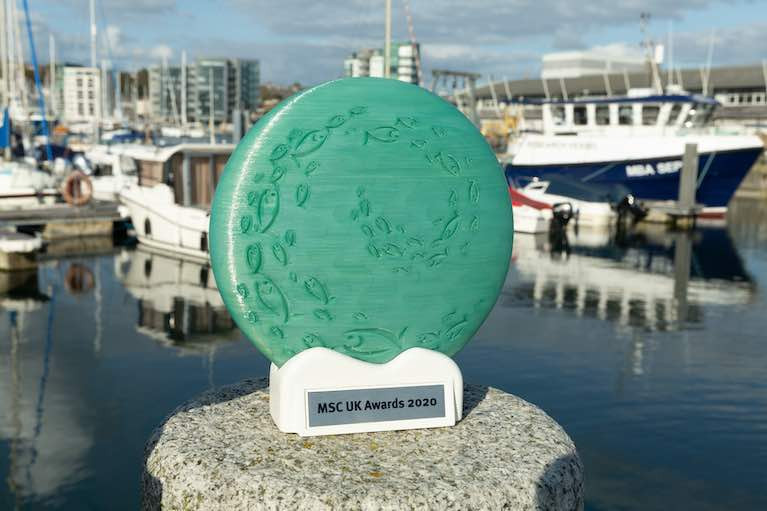 The MSC UK award - made from recycled fishing nets -  which was presented to this year's award winners including BIM