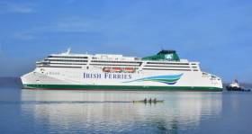 Cruiseferry W.B. Yeats which Irish Ferries was forced to cancel thousands of bookings last summer over delays of the 195m newbuild which will offer up to four sailings a week directly from Dublin to Cherbourg, France.