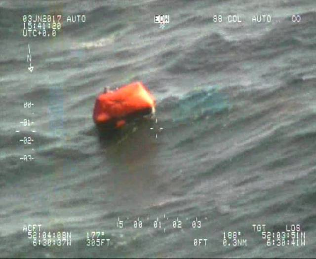 The Inis Mor crew took to the liferaft when the Ker 39 started sinking off the Saltee Islands. All crew were rescued by Coastguard Helicopter 117