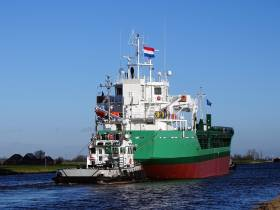 A pair of tugs fore and aft assist newbuild Arklow Venus yesterday along the freshwater Eemskanaal Canal, having departed the inland shipyard in Hoogezand to the salt waters in Delfzijl. Sea trails of the 'V' class short sea trader began today.