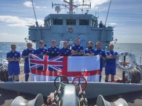 Sailors and 'Fighting Foxes' football team! of HMS Atherstone that visited Dublin at the weekend, are seen earlier this month to cheer and celebrate Leicester City Football Club's triumph.