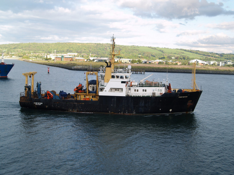 Northern Ireland fishery and research vessel RV Corystes which recently left Cork Dockyard's graving-dock, the Republic's sole surviving facility for 'ships' following the closure of the larger dry-dock in Dublin Port in 2015. The stout and sturdy looking 53m vessel is seen in Belfast Lough and was built for previous owners in 1988 at a shipyard across the other side of the North Channel along the Firth of Clyde at Ferguson Ailsa shipyard in Troon, Scotland.