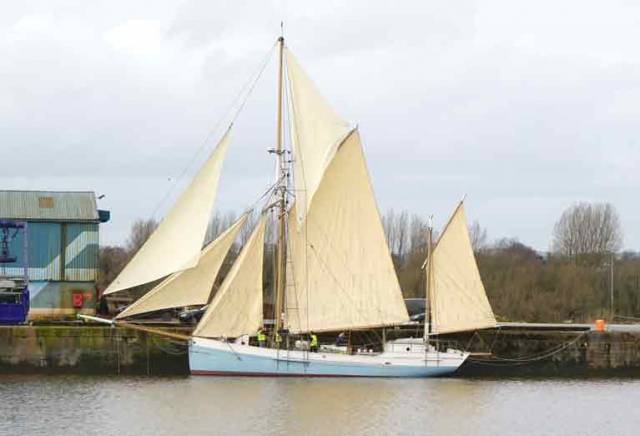 The Ilen with sails set at Limerick Docks