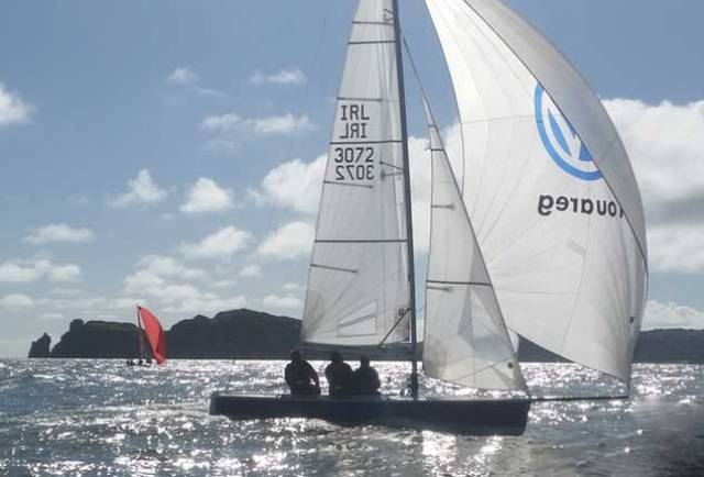 Altair from Cork Harbour (K Dorgan, Cobh SC) holding on the right in Sunday's sunshine at the SB20 Nationals at Howth. They placed 17th overall in a hot fleet
