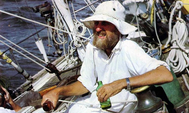 The Caribbean Don Street, at the helm of his beloved vintage yawl Iolaire in idyllic Trade Wind sailing conditions