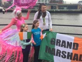 Annalise Murphy prepares for the St. Patrick's Day Parade role