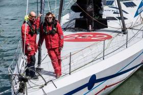 Co-skippers Ari Huusela (left) and Mikey Ferguson on the former's IMOCA 60 Ariel2