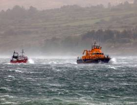 The lifeboat crew battled sea conditions reaching force nine to assist the vessel with a crew of two people onboard