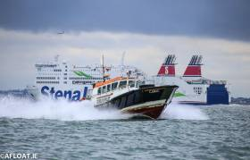 The Dublin Port Pilot vessel, Camac (foreground) and the Stena Adventurer, a large roll on/roll off passenger ferry operating on the Holyhead - Dublin route. Cargo volumes into Dublin Port have risen again for the first nine months of 2018