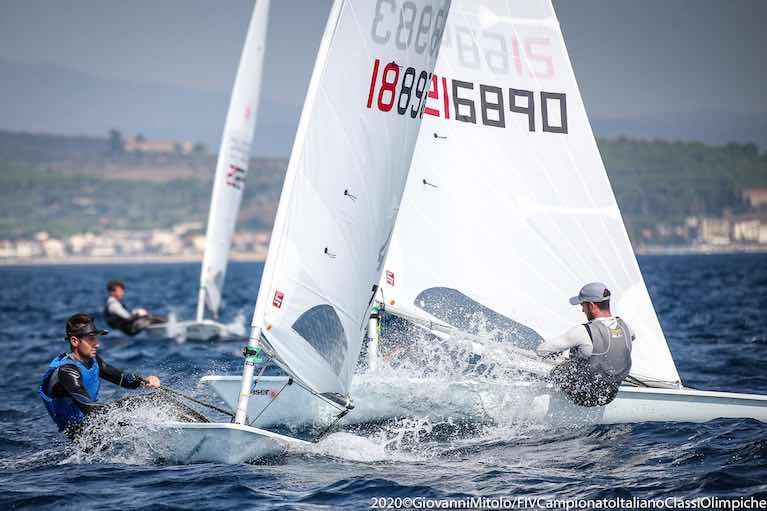 Finn Lynch (on port tack) on his way to seventh overall in Follonica, Italy