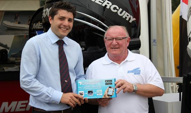 Kevin Hennessy with Ben Aken, General Manager of Barrus, the UK's largest engine distributor which is distributing the Outboardwaren protective system with their engines