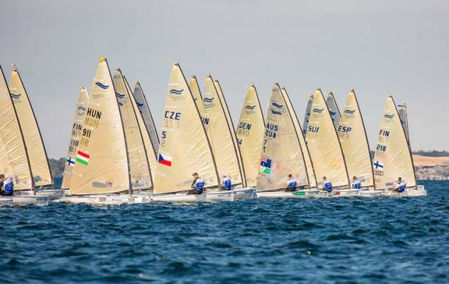 The start of yellow group, race 1 in the Finn Gold Cup