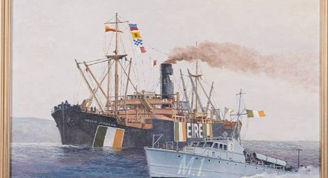 Irish Shipping's general cargoship 'Irish Poplar' from the collection of the Irish Naval Service painted by Kenneth King.