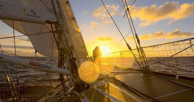 Dare To Lead soaks in the sunrise in the Southern Ocean
