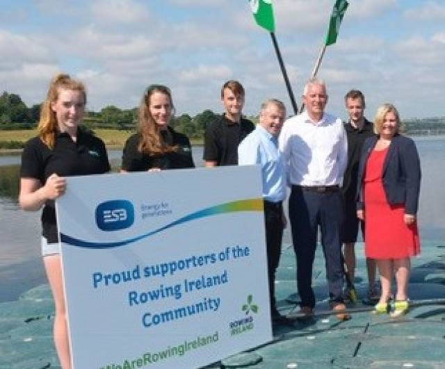 Rowers Emily Hegarty, Natalie Long, Andrew Goff and Naill Beggan with Michael Quinlan and Frank Barry, ESB, and Michelle Carpenter, Rowing Ireland