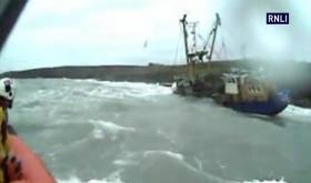 lifeboat camera footage of Kinsale RNLI callout to a stricken trawler