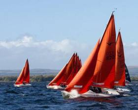 The popular Squib Class revelling in crisp sailing conditions on what is undoubtedly Lough Derg