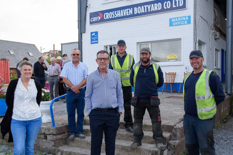 Matt Foley, centre, is congratulated on his retirement from Crosshaven Boatyard by colleagues Judy Phillips, Hugh Mockler, Joe Berry, Mark Lewis and Steve O'Sullivan