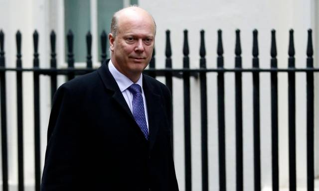 UK Transport Secretary Chris Grayling arrives for the weekly cabinet meeting. Downing Street said the prime minister had full confidence in the transport secretary. As for Jacob Rees-Mogg, a leading pro-Brexit Tory MP, suggested Arklow (Shipping) might have ended support (for Seaborne Freight) after political pressure in Ireland.