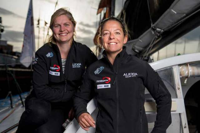 Joan Mulloy (left) & Alexia Barrier on board for the Transat Jacques Vabre on Sunday