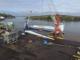 Handling of wind-turbine blades from a vessel docked at Foynes Port, Co. Limerick, the main port on the Shannon Estuary is part of SFPC operations.