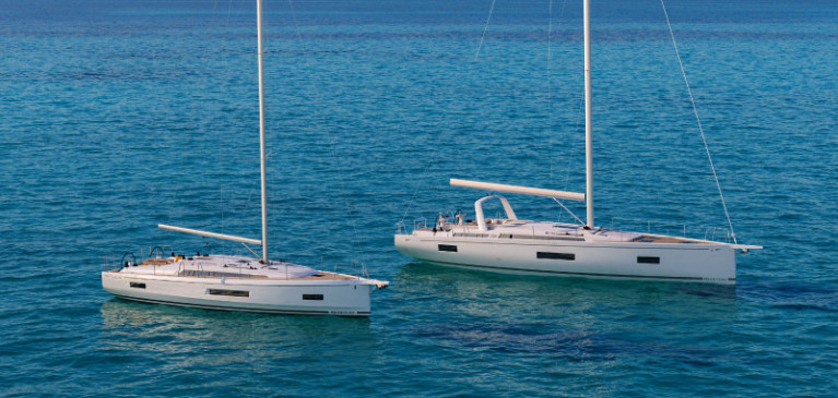 The new Oceanis 40.1 (foreground) & Oceanis Yacht 54