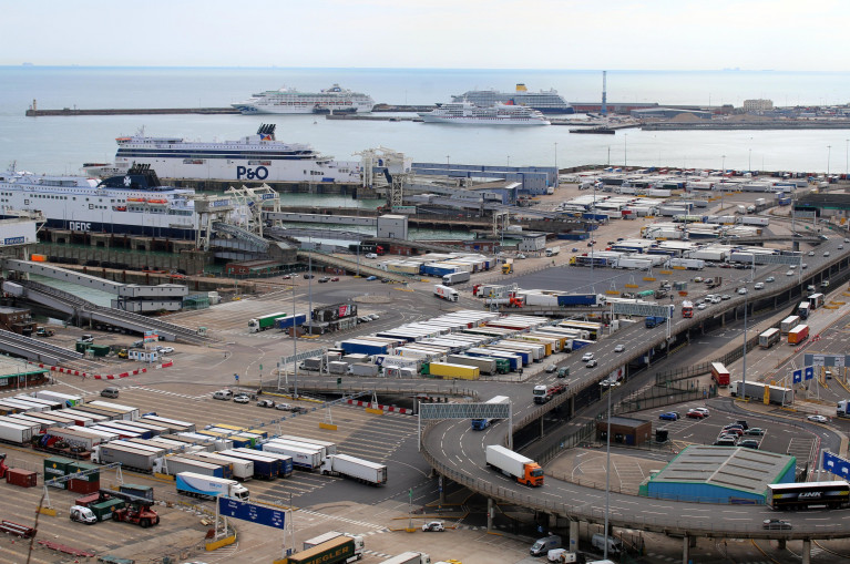 UK hauliers have been warned delays could be in place for at least three months. Above busy scene as trucks use the Port of Dover in Kent. AFLOAT also adds in this scene asides routine ferries serving Calais, France are in the background cruiseships berthed at the port's eastern docks.