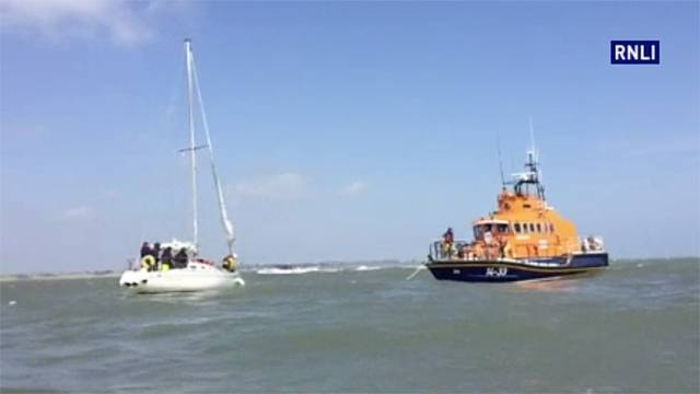 Howth RNLI's all-weather lifeboat prepares to tow the stranded yacht to safety
