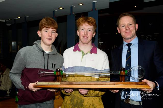 "MBSC Laser winners from left:  Harry Pritchard Radial winner, Chris Bateman Overall Winner ""Yard of Ale Trophy"" And Ronan Keneally Organiser and second overall. Scroll down for photo gallery"