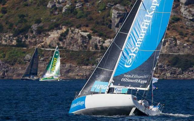 Tom Dolan with his Figaro 2 Smurfit Kappa nicely in the groove as as the fleet shapes up to take on the long slow beat across the Bay of Biscay. Photo Figaro URGO Solo