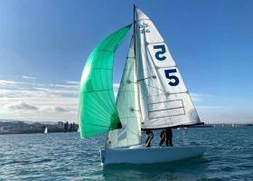 The National Yacht Club's Elliot 6m in action as a match race boat at Dun Laoghaire Harbour